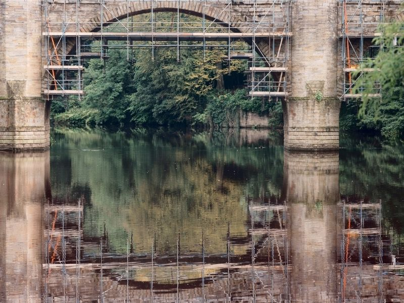 Repairs to a bridge - scaffolding and heritage