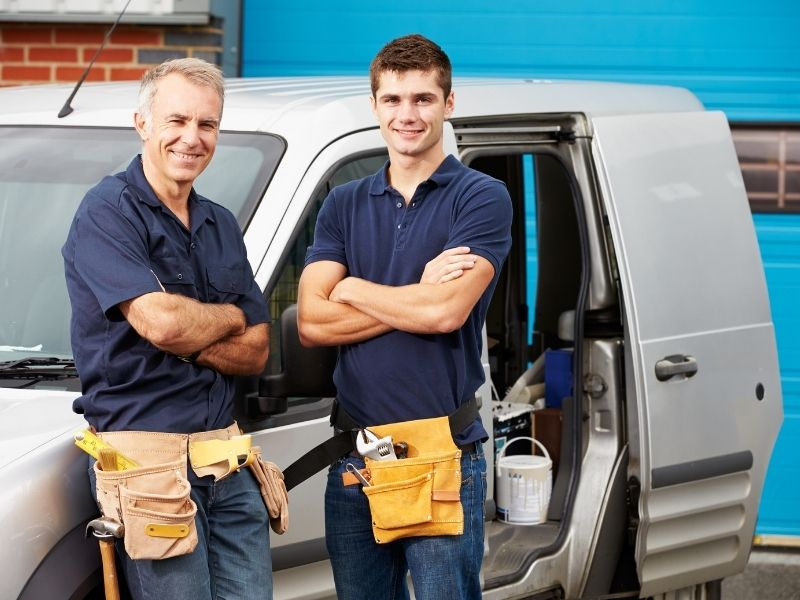 Tradesmen father and son